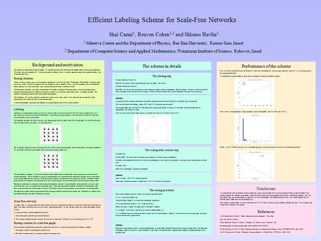 Efficient Labeling Scheme for Scale-Free Networks The scheme in detailsPerformance of the scheme First we fix the number of hubs (to O(log(N))) and show.