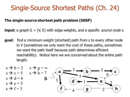 The single-source shortest path problem (SSSP) input: a graph G = (V, E) with edge weights, and a specific source node s. goal: find a minimum weight (shortest)
