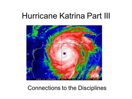 Hurricane Katrina Part III Connections to the Disciplines.