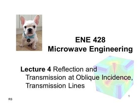 1 RS ENE 428 Microwave Engineering Lecture 4 Reflection and Transmission at Oblique Incidence, Transmission Lines.