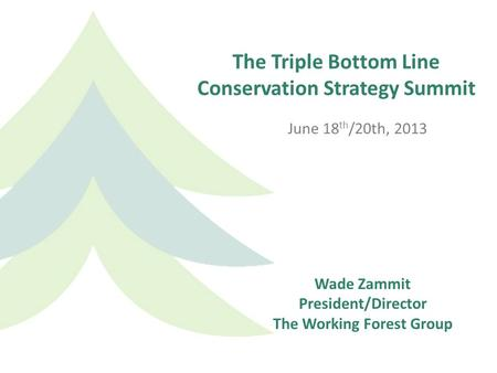 The Triple Bottom Line Conservation Strategy Summit June 18 th /20th, 2013 Wade Zammit President/Director The Working Forest Group.