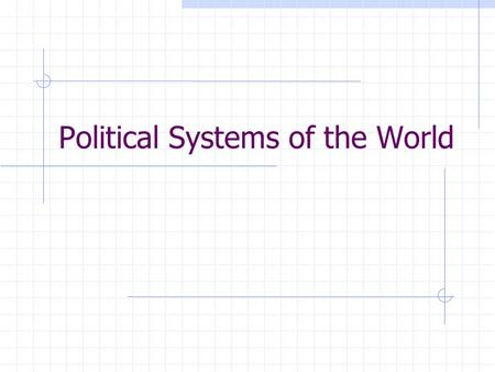 Political Systems of the World. If I were to leave this class alone to rule itself, what would happen? Who would be ruler? How would decisions be made?