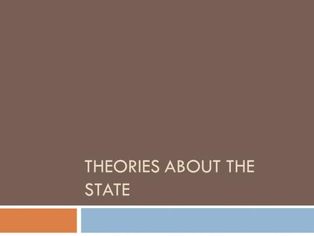 THEORIES ABOUT THE STATE. Definition of the State  The state is defined the political organization of society within a defined territory  There are.