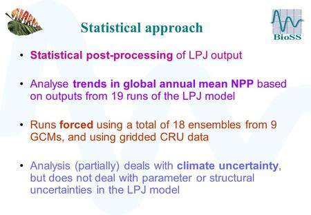 Statistical approach Statistical post-processing of LPJ output Analyse trends in global annual mean NPP based on outputs from 19 runs of the LPJ model.