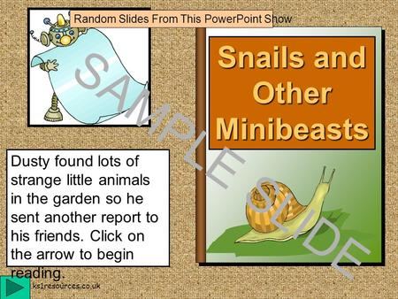 www.ks1resources.co.uk Snails and Other Minibeasts Dusty found lots of strange little animals in the garden so he sent another report to his friends.