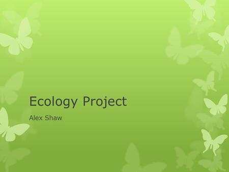 Ecology Project Alex Shaw. Ecosystem Engineers  Cause physical changes to their environment for own needs  By behavior, or large collective biomass.