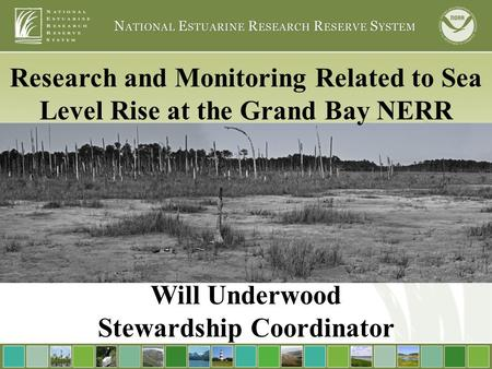 Research and Monitoring Related to Sea Level Rise at the Grand Bay NERR Will Underwood Stewardship Coordinator.