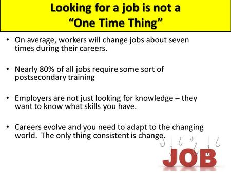 "Looking for a job is not a ""One Time Thing"" On average, workers will change jobs about seven times during their careers. Nearly 80% of all jobs require."