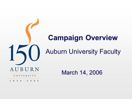 Campaign Overview Auburn University Faculty March 14, 2006.