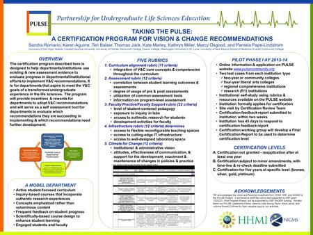 OVERVIEW The certification program described here is designed to help departments/institutions use existing & new assessment evidence to evaluate progress.