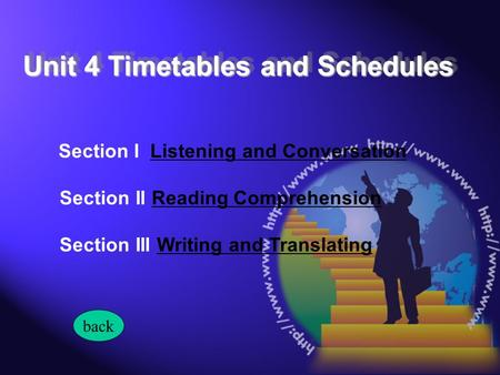 Section I Listening and ConversationListening and Conversation Section II Reading ComprehensionReading Comprehension Section III Writing and TranslatingWriting.
