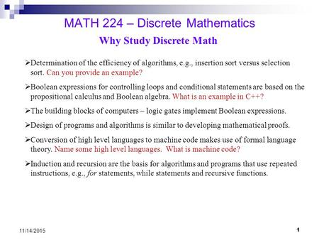 MATH 224 – Discrete Mathematics