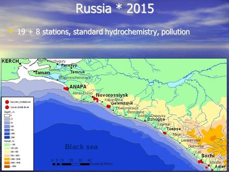 Russia * 2015 19 + 8 stations, standard hydrochemistry, pollution 19 + 8 stations, standard hydrochemistry, pollution.
