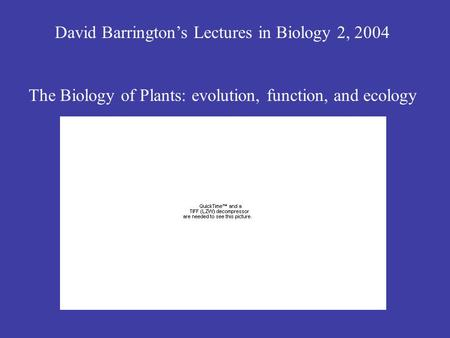 David Barrington's Lectures in Biology 2, 2004 The Biology of Plants: evolution, function, and ecology.