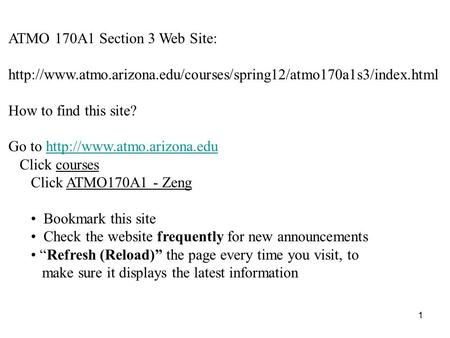 ATMO 170A1 Section 3 Web Site:  How to find this site? Go to