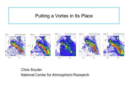 Putting a Vortex in Its Place Chris Snyder National Center for Atmospheric Research.