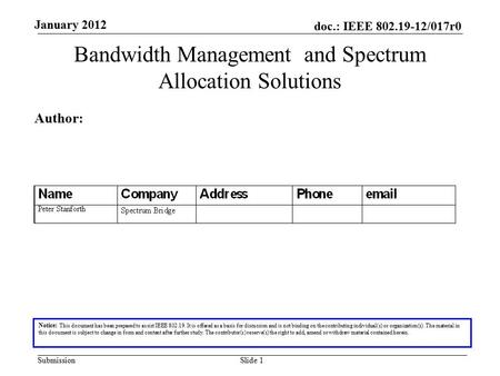 Doc.: IEEE 802.19-12/017r0 Submission January 2012 Slide 1 Bandwidth Management and Spectrum Allocation Solutions Notice: This document has been prepared.