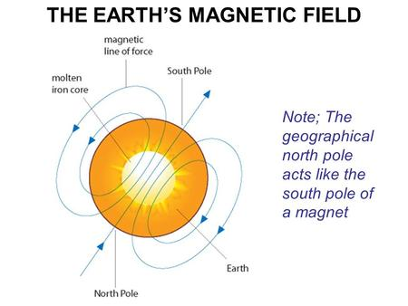 THE EARTH'S MAGNETIC FIELD Note; The geographical north pole acts like the south pole of a magnet.