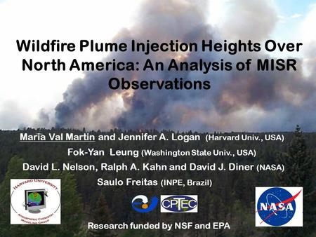 Wildfire Plume Injection Heights Over North America: An Analysis of MISR Observations Maria Val Martin and Jennifer A. Logan (Harvard Univ., USA) Fok-Yan.