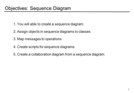 1 Objectives: Sequence Diagram 1. You will able to create a sequence diagram. 2. Assign objects in sequence diagrams to classes 3. Map messages to operations.