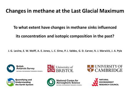 Changes in methane at the Last Glacial Maximum To what extent have changes in methane sinks influenced its concentration and isotopic composition in the.