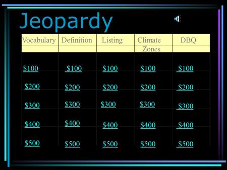 Jeopardy VocabularyDefinitionListingClimate Zones DBQ $100 $200 $300 $400 $500 $100 $200 $300 $400 $500.