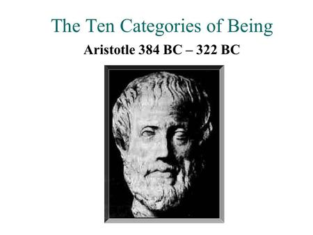 The Ten Categories of Being