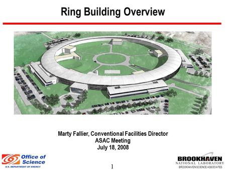 1 BROOKHAVEN SCIENCE ASSOCIATES Ring Building Overview Marty Fallier, Conventional Facilities Director ASAC Meeting July 18, 2008.