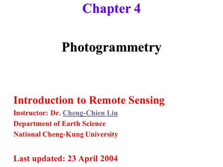 Chapter 4 Photogrammetry