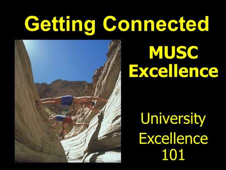 MUSC Excellence University Excellence 101 Getting Connected.