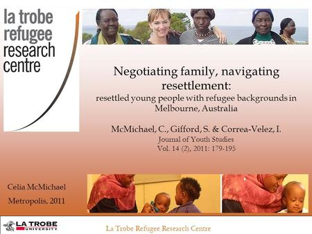 La Trobe Refugee Research Centre Negotiating family, navigating resettlement: resettled young people with refugee backgrounds in Melbourne, Australia McMichael,