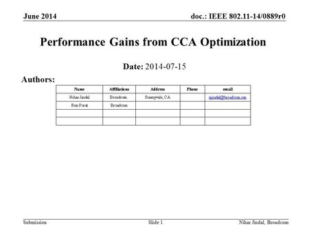 Doc.: IEEE 802.11-14/0889r0 Submission June 2014 Nihar Jindal, Broadcom Performance Gains from CCA Optimization Date: 2014-07-15 Authors: Slide 1.
