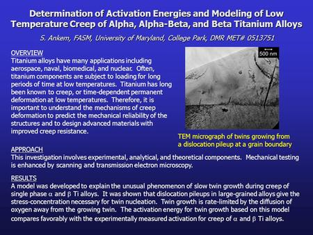 Determination of Activation Energies and Modeling of Low Temperature Creep of Alpha, Alpha-Beta, and Beta Titanium Alloys S. Ankem, FASM, University of.