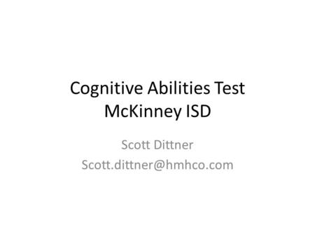Cognitive Abilities Test McKinney ISD