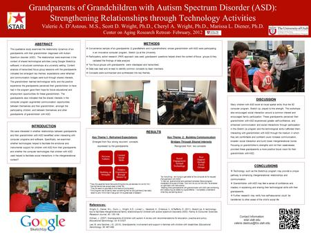 ABSTRACT This qualitative study examined the relationship dynamics of six grandparents with their grandchildren diagnosed with Autism Spectrum disorder.