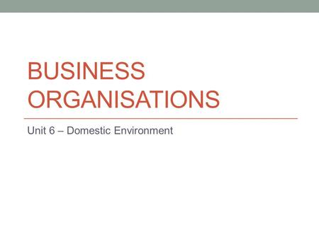 BUSINESS ORGANISATIONS Unit 6 – Domestic Environment.