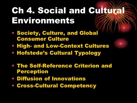 Ch 4. Social and Cultural Environments Society, Culture, and Global Consumer Culture High- and Low-Context Cultures Hofstede's Cultural Typology The Self-Reference.