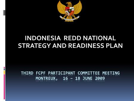INDONESIA REDD NATIONAL STRATEGY AND READINESS PLAN.