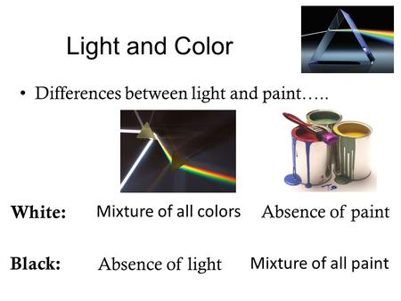 Light and Color Differences between light and paint….. White: Absence of paint Mixture of all colors Black: Absence of light Mixture of all paint.
