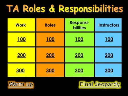 WorkRoles Responsi- bilities Instructors 100 200 300.