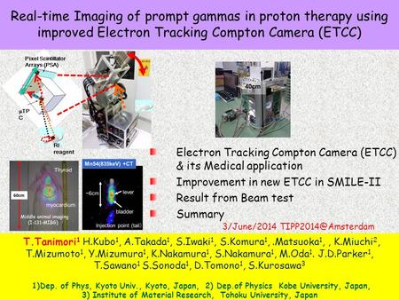 Real-time Imaging of prompt gammas in proton therapy using improved Electron Tracking Compton Camera (ETCC)  TP C Pixel Scintillator Arrays (PSA) RI reagent.