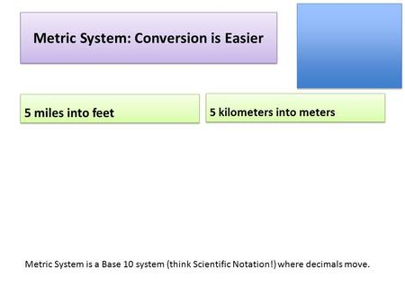Metric System: Conversion is Easier 5 miles into feet 5 kilometers into meters Metric System is a Base 10 system (think Scientific Notation!) where decimals.