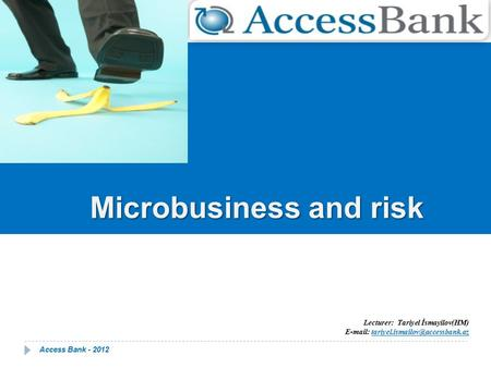 Microbusiness and risk Lecturer: Tariyel İsmayilov(HM) Е-mail: Access Bank - 2012.