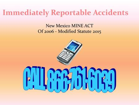New Mexico MINE ACT Of 2006 - Modified Statute 2015 Immediately Reportable Accidents.