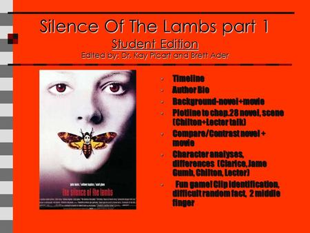 Silence Of The Lambs part 1 Student Edition Edited by: Dr. Kay Picart and Brett Ader Timeline Timeline Author Bio Author Bio Background-novel+movie Background-novel+movie.