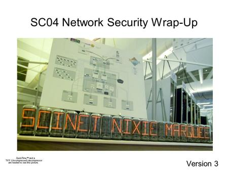 SC04 Network Security Wrap-Up Version 3. Role of Network Security in SCinet ISP role/rule in protecting network (1) Protect network infrastructure (2)