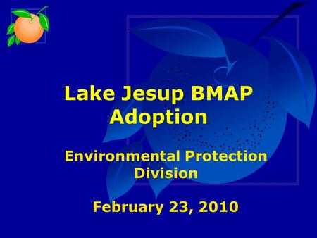Lake Jesup BMAP Adoption Environmental Protection Division February 23, 2010.