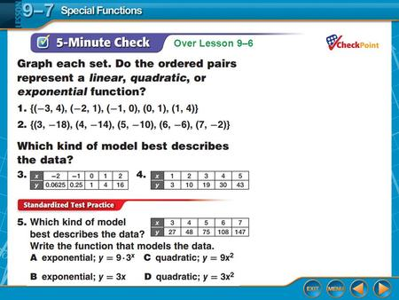 Over Lesson 9–6. Splash Screen Special Functions Lesson 9-7.