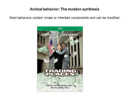 Animal behavior: The modern synthesis Most behaviors contain innate or inherited components and can be modified.