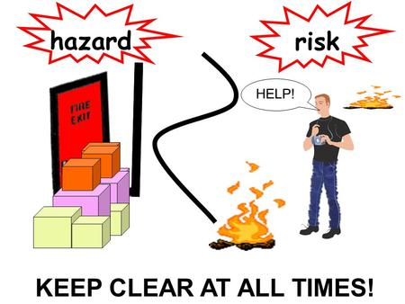 Hazard risk HELP! KEEP CLEAR AT ALL TIMES!.